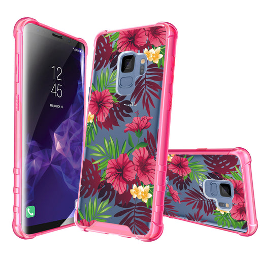Samsung Galaxy S9 Case [Clear/ Pink Bumper][Tropical Night]