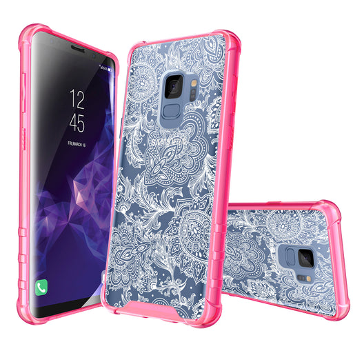 Samsung Galaxy S9 Case [Clear/ Pink Bumper][Black Henna]