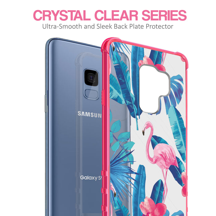 Samsung Galaxy S9 Case [Clear/ Pink Bumper][Flamingos]