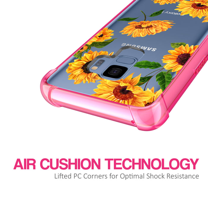 Samsung Galaxy S9 Case [Clear/ Pink Bumper][Sunflower]