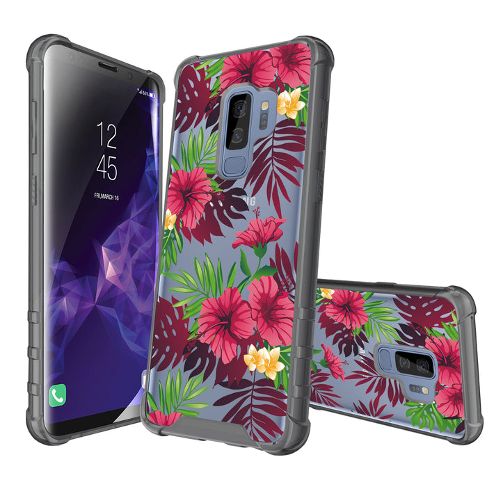 Samsung Galaxy S9 Plus Case [Clear/ Gray Bumper][Tropical Night]