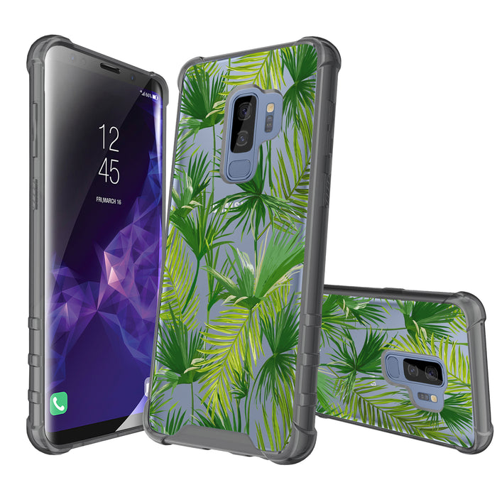 Samsung Galaxy S9 Plus Case [Clear/ Gray Bumper][Green Leaves]