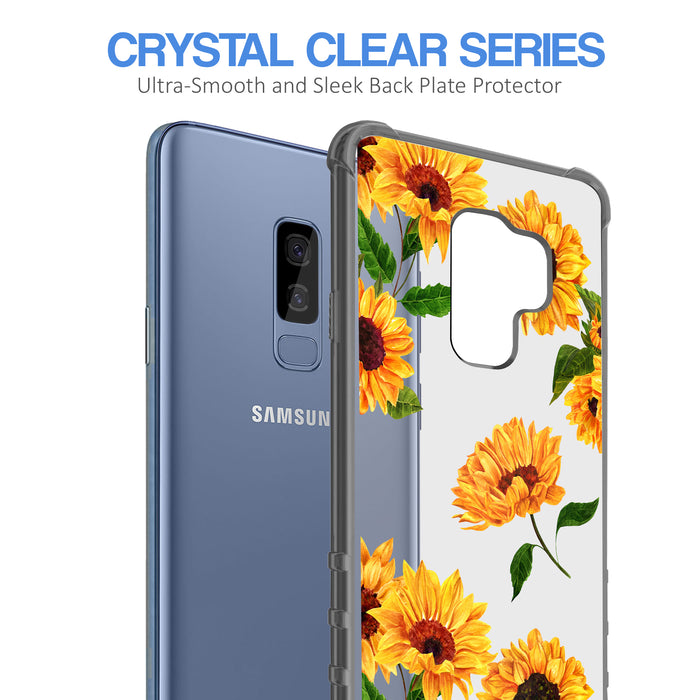 Samsung Galaxy S9 Plus Case [Clear/ Gray Bumper][Sunflower]