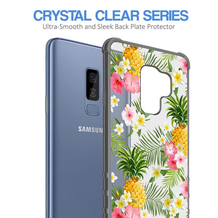Samsung Galaxy S9 Plus Case [Clear/ Gray Bumper][Tropical Pineapple]
