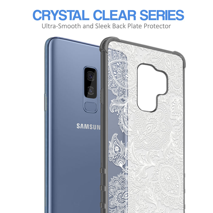 Samsung Galaxy S9 Plus Case [Clear/ Gray Bumper][Black Henna]