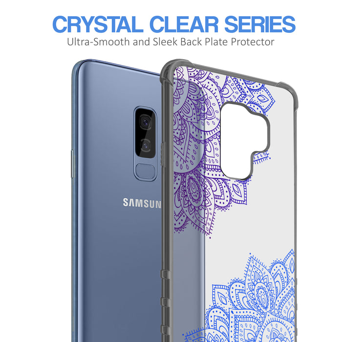 Samsung Galaxy S9 Plus Case [Clear/ Gray Bumper][Blue Mandala]
