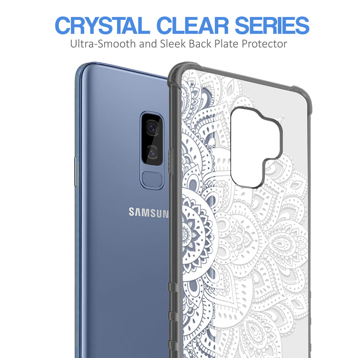 Samsung Galaxy S9 Plus Case [Clear/ Gray Bumper][White Mandalas]