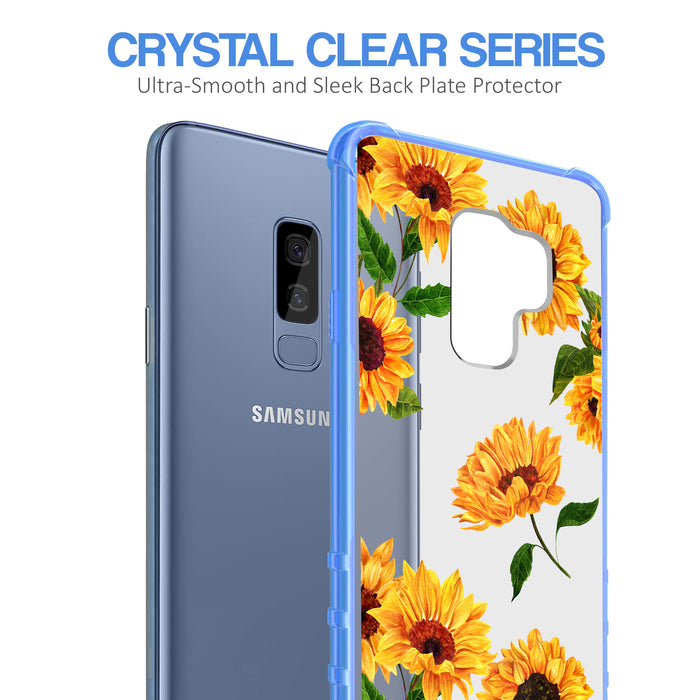 Samsung Galaxy S9 Plus Case [Clear/ Blue Bumper][Sunflower]