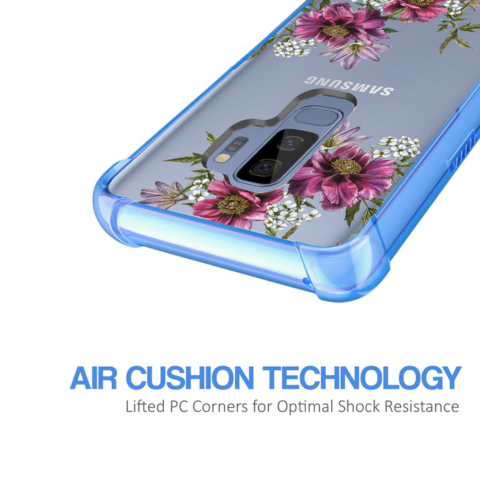 Samsung Galaxy S9 Plus Case [Clear/ Blue Bumper][Purple Flower]