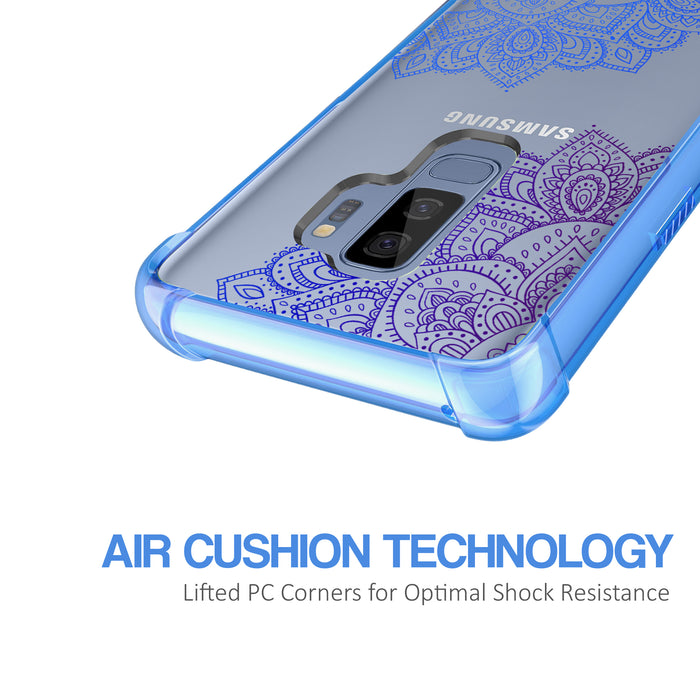 Samsung Galaxy S9 Plus Case [Clear/ Blue Bumper][Blue Mandala]