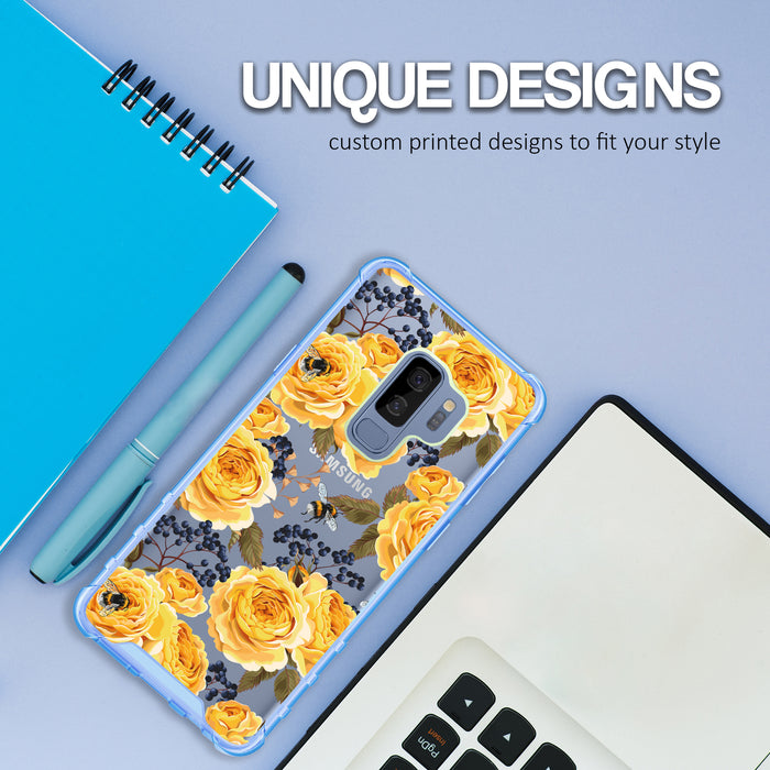 Samsung Galaxy S9 Plus Case [Clear/ Blue Bumper][Bumble Bee Roses]