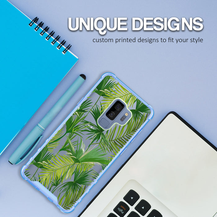 Samsung Galaxy S9 Plus Case [Clear/ Blue Bumper][Green Leaves]
