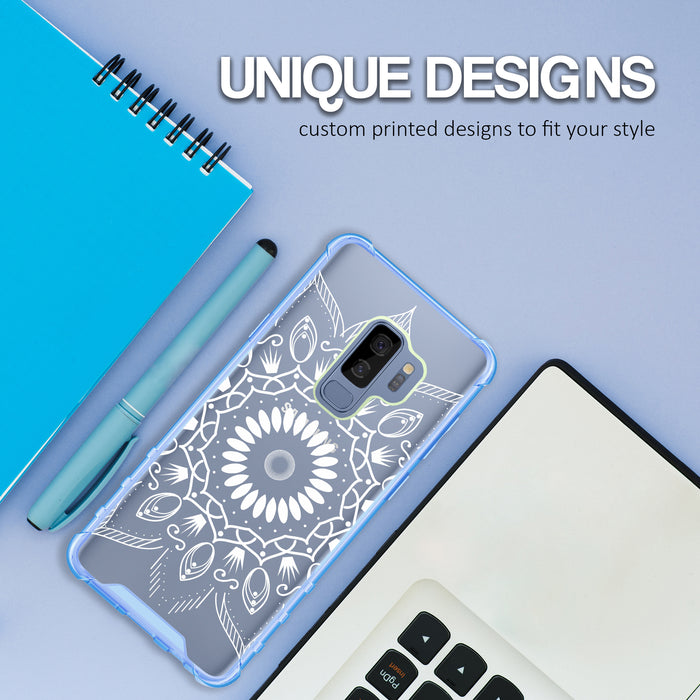 Samsung Galaxy S9 Plus Case [Clear/ Blue Bumper][Black Mandala]