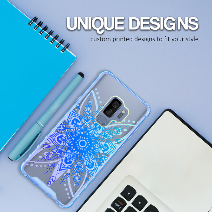 Samsung Galaxy S9 Plus Case [Clear/ Blue Bumper][Heart Mandala]