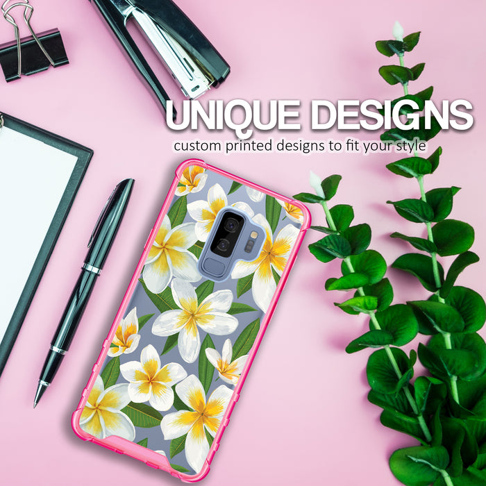 Samsung Galaxy S9 Plus Case [Clear/ Pink Bumper][White Hawaiian Flowers]
