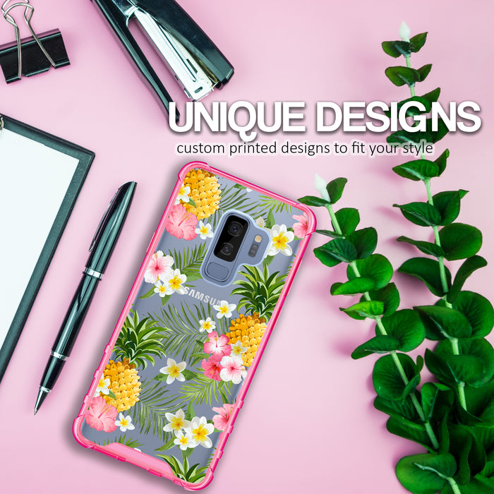 Samsung Galaxy S9 Plus Case [Clear/ Pink Bumper][Tropical Pineapple]