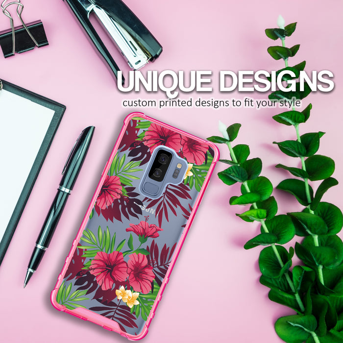Samsung Galaxy S9 Plus Case [Clear/ Pink Bumper][Tropical Night]