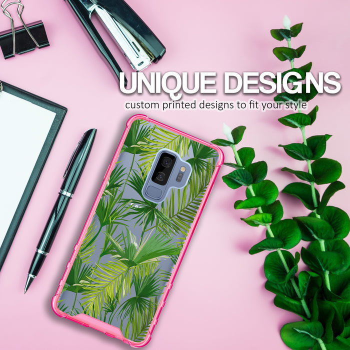 Samsung Galaxy S9 Plus Case [Clear/ Pink Bumper][Green Leaves]