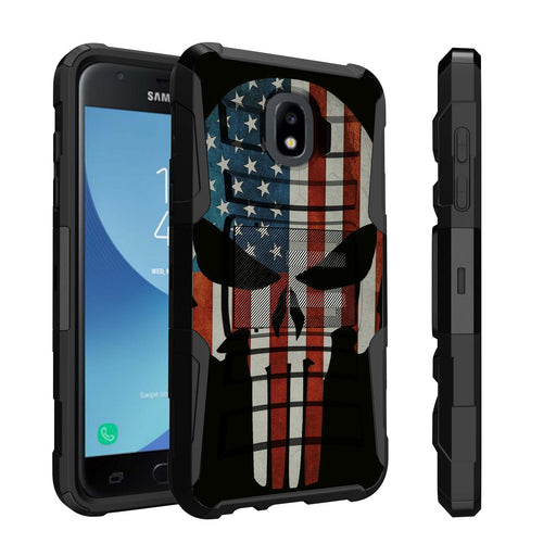 Samsung Galaxy J7 Case [Holster][USA Flag Skull]