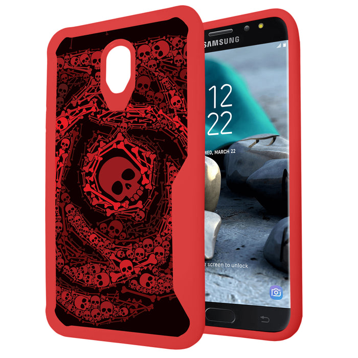 Samsung Galaxy J7 Case [Armor Flex/Red Frame][Rose Skull]