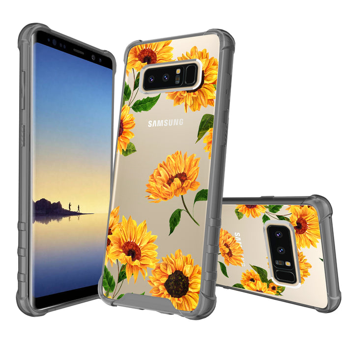 Samsung Galaxy Note 8 Case [Clear/ Gray Bumper][Sunflower]