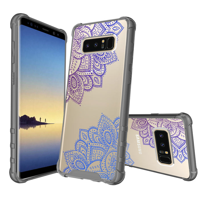 Samsung Galaxy Note 8 Case [Clear/ Gray Bumper][Blue Mandala]