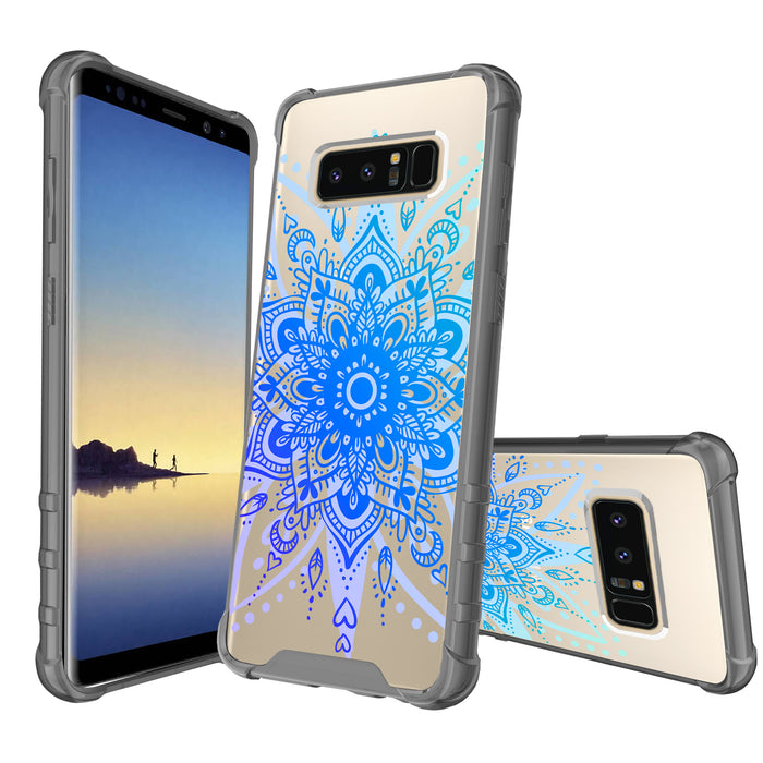 Samsung Galaxy Note 8 Case [Clear/ Gray Bumper][Heart Mandala]