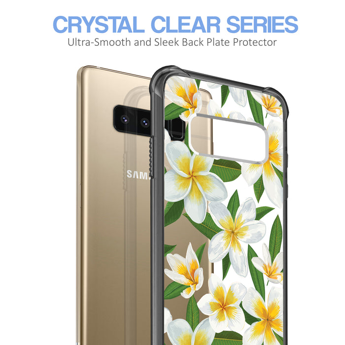 Samsung Galaxy Note 8 Case [Clear/ Gray Bumper][White Hawaiian Flowers]