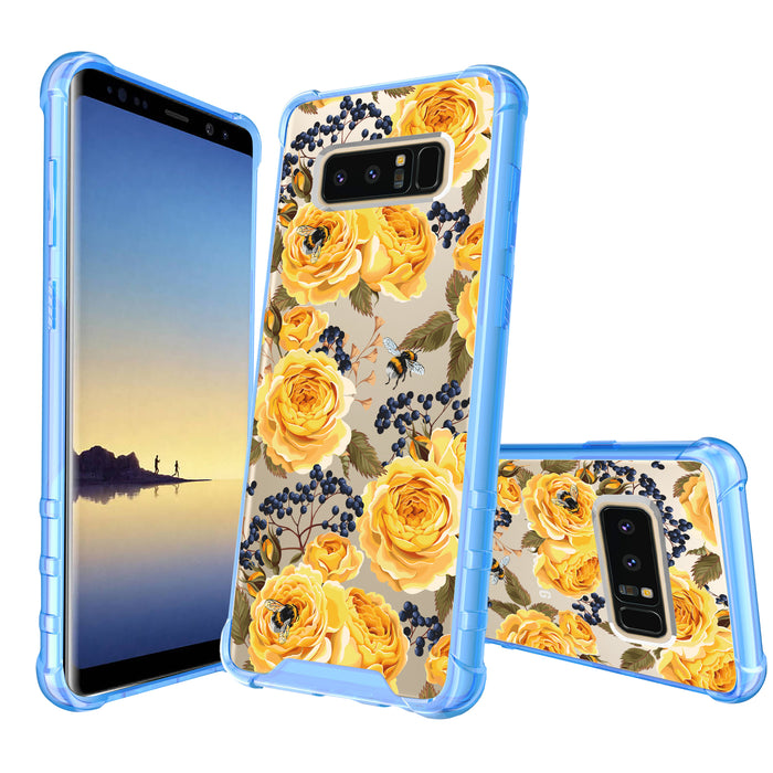 Samsung Galaxy Note 8 Case [Clear/ Blue Bumper][Bumble Bee Roses]