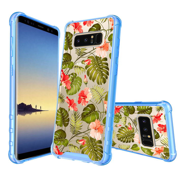 Samsung Galaxy Note 8 Case [Clear/ Blue Bumper][Orange Tropic]
