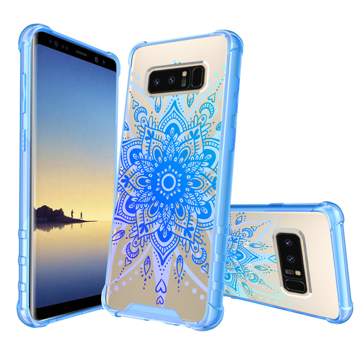 Samsung Galaxy Note 8 Case [Clear/ Blue Bumper][Heart Mandala]