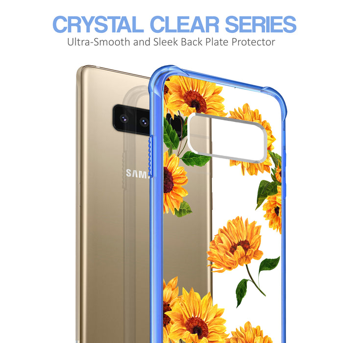 Samsung Galaxy Note 8 Case [Clear/ Blue Bumper][Sunflower]