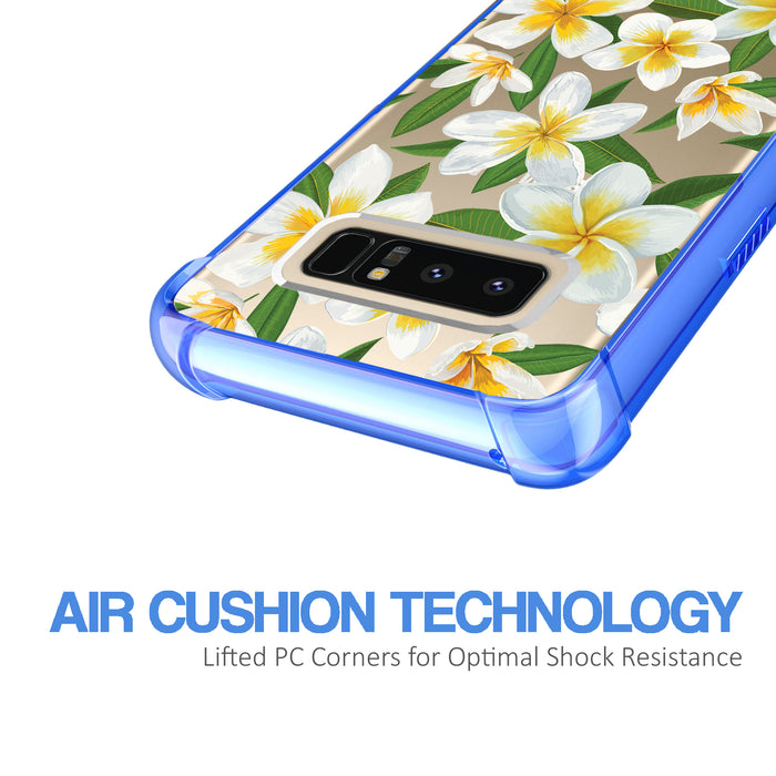 Samsung Galaxy Note 8 Case [Clear/ Blue Bumper][White Hawaiian Flowers]
