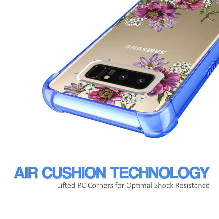 Samsung Galaxy Note 8 Case [Clear/ Blue Bumper][Purple Flower]