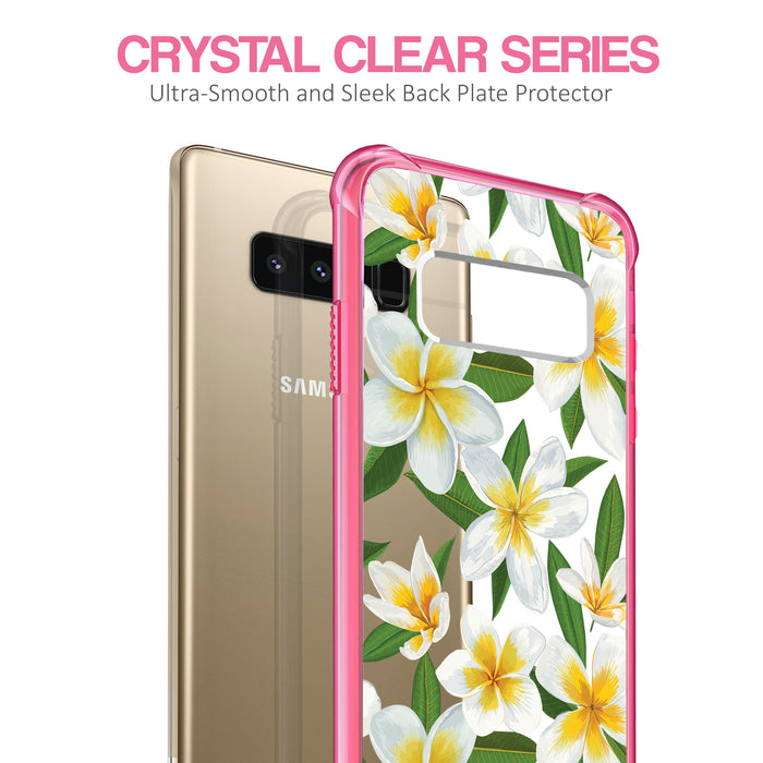 Samsung Galaxy Note 8 Case [Clear/ Pink Bumper][White Hawaiian Flowers]