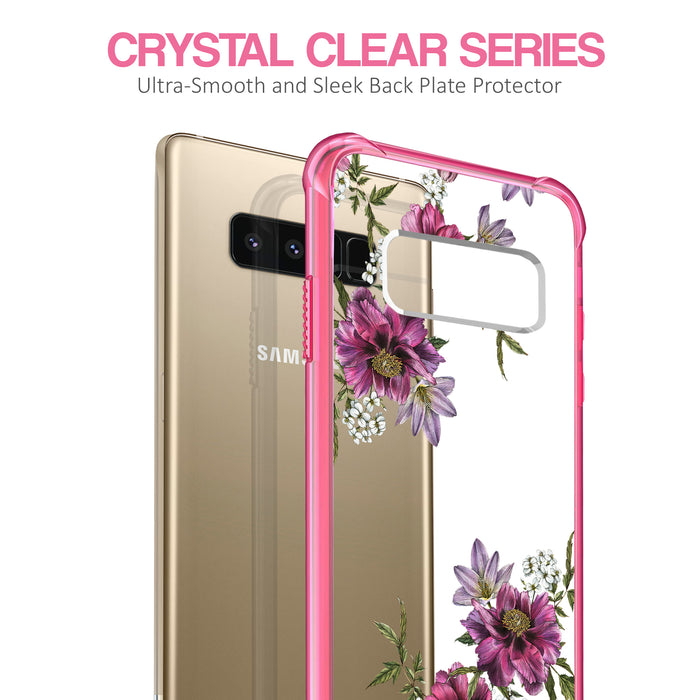 Samsung Galaxy Note 8 Case [Clear/ Pink Bumper][Purple Flower]