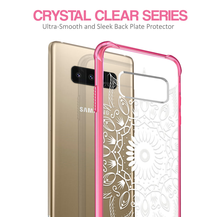 Samsung Galaxy Note 8 Case [Clear/ Pink Bumper][Black Mandala]
