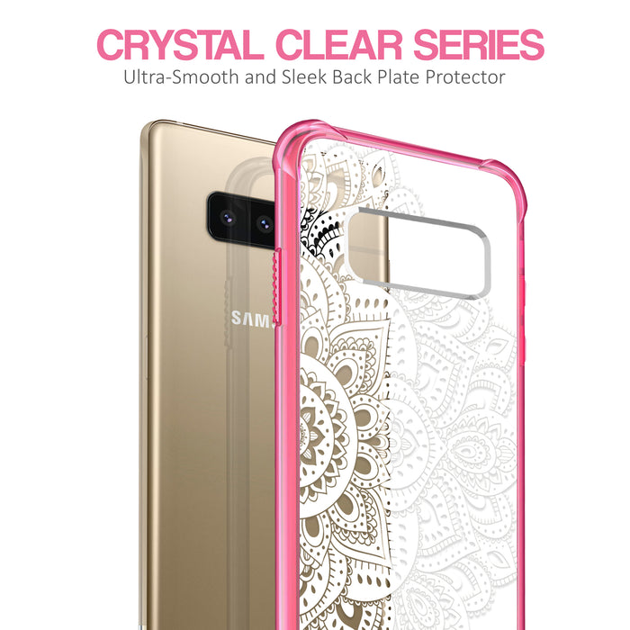 Samsung Galaxy Note 8 Case [Clear/ Pink Bumper][White Mandalas]