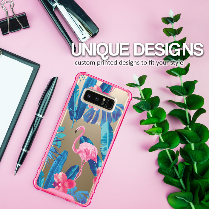 Samsung Galaxy Note 8 Case [Clear/ Pink Bumper][Flamingos]