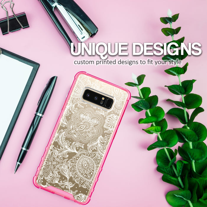 Samsung Galaxy Note 8 Case [Clear/ Pink Bumper][Black Henna]