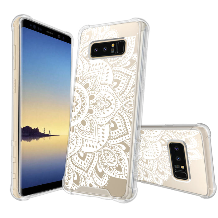 Samsung Galaxy Note 8 Case [Ultra Clear][White Mandalas]