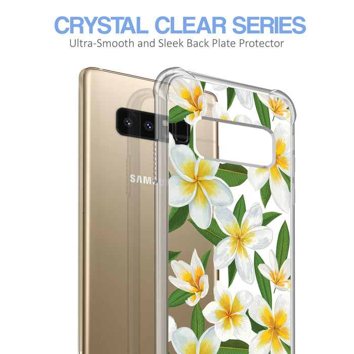 Samsung Galaxy Note 8 Case [Ultra Clear][White Hawaiian Flowers]