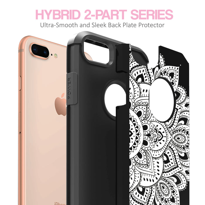 Apple iPhone 8 Plus Case [Slim Shield][White Mandalas]