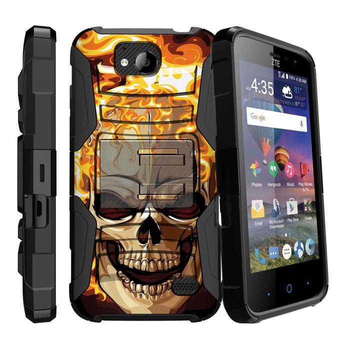 buy popular a57fb fb4ff ZTE Majesty PRO Case [Holster][Red Fire Skull]