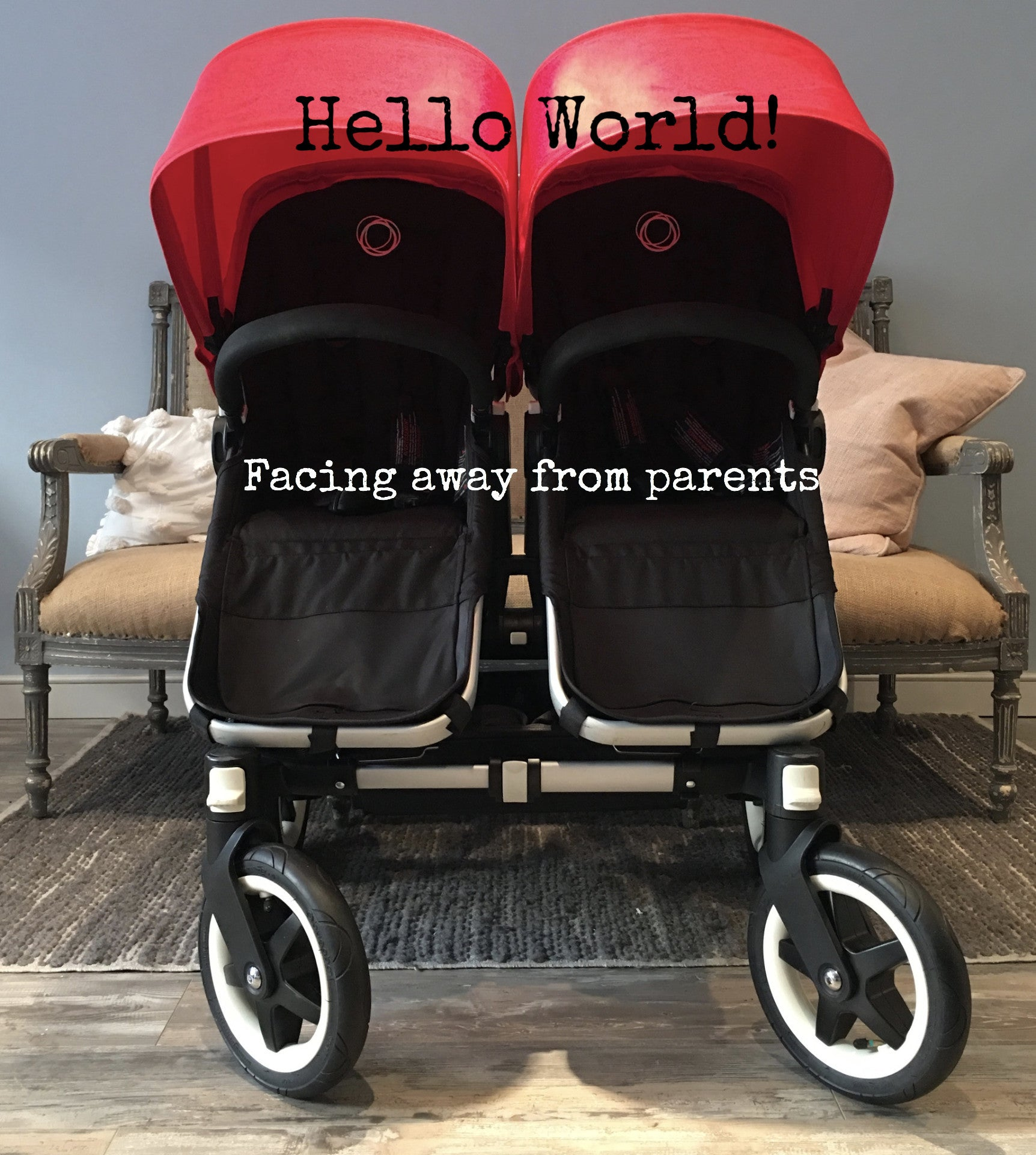 Bugaboo Donkey Twins (Aluminum w/black seats and red canopies), Born ...