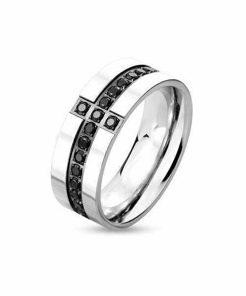 The Cross Stud Ring in Silver
