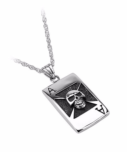 The Ace of Skull Necklace in Silver