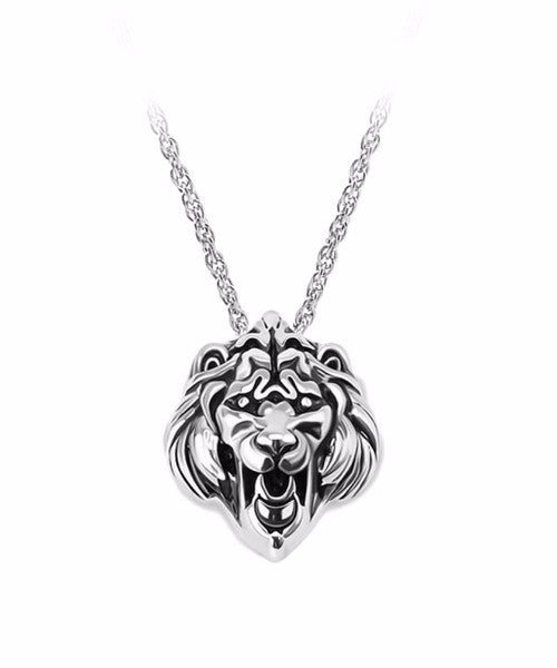 The Lion Necklace in Chrome