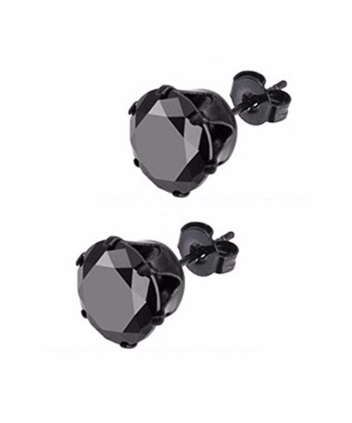 The Diamond Stud Earrings in Onyx