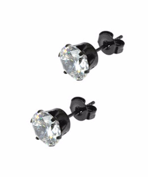 The Diamond Stud Earrings in Black